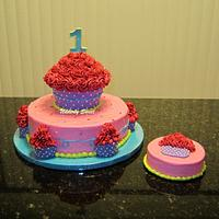Girly Cupcake Cake
