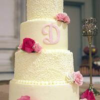 Lace piping wedding cake
