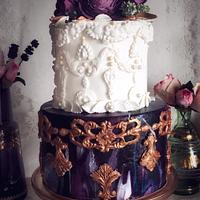 Bas Relief Baroque Wedding Cake, Purple Marble Effect