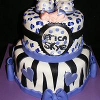 Leopard and Zebra Print Baby Shower Cake