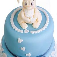 Double barrel two tier First birthday baby blue bunny cake by Starry Delights
