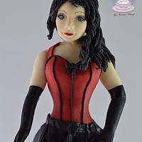 Brunette Burlesque figure by Cake Angel by Marisa Kemp