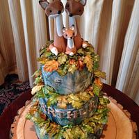 Fox family - real tree Christening cake