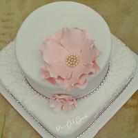 Large Open Rose Wedding Cake by Pat