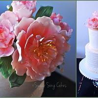 gumpaste peonies on buttercream birthday cake