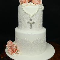 Communion Cake by Cakes by Vivienne