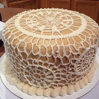 Lace baby shower cake