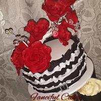black white and red ruffles