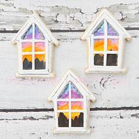 Watercolor Sunset Window Scene Cookies