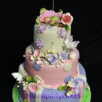 Flowers and Butterflies Baby Shower Cake