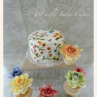 Hand painted cake & 'watercolor' rose cupcakes
