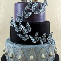 Gothic Wedding Cake with Mexican Skull Topper