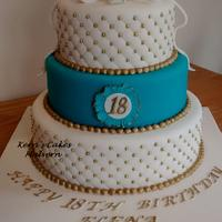 18th Birthday in turquoise, white & gold x