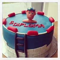 Swimming diploma cake