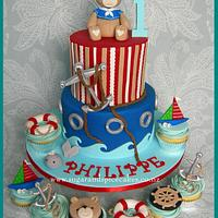 Ahoy! Teddy Sailor Cake & Cupcakes