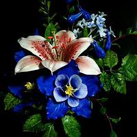 Starglazer Lily, Lilac and Columbine gumpaste flowers