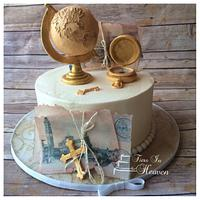 World Travel cake with gum paste globe and compass