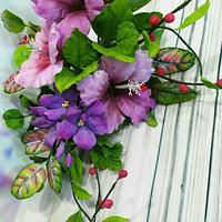 Free formed gumpaste Hibiscus spray