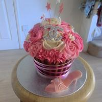Giant cupcake with Chanel swarvoski crystal logo and shoe