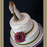 A single rose wedding cake