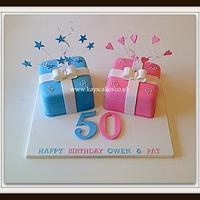 Twins Pink & Blue Parcel Cake