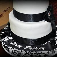 black and white theme cake!!