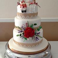 Scottish and hessian  wedding cake
