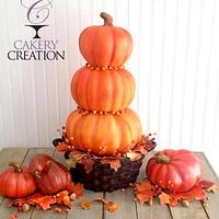 3D basket of stacked pumpkins cake