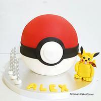 A Pokemon Go ball  Cake