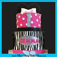 Hot pink and Zebra Minnie Mouse Cake