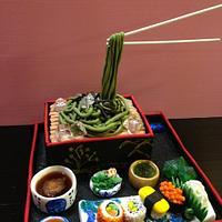 Japanese cold soba, sushi cake