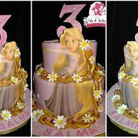 Rapunzel 3 tier cake