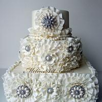 Jeweled ruffle cake by MelinArt