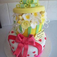 gift box cake by Amy