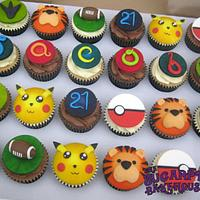 21st Birthday Cupcakes - Pokemon, Football, Dinosaurs & More!