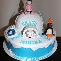 Pingu, Igloo theme 2 layer customized fondant birthday cake