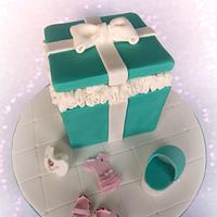 Tiffany Box Baby Shower Cake & Cupcakes