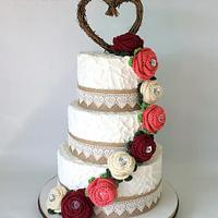 Rustic Wedding Cake with Handmade Crocheted Flowers