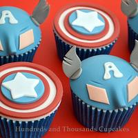 Captain America Cupcakes by Hundreds and Thousands Cupcakes