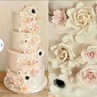 Romantic cascade cake