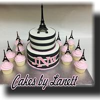 Paris Theme Baby Shower Cake/Cupcakes by lanett