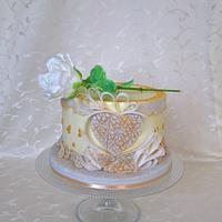 Romantic cake with heart