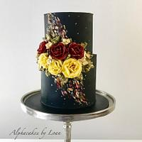 Painted buttercream cake.