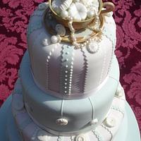 Vintage ribbon, buttons & pearls Wedding Cake by GemCakes