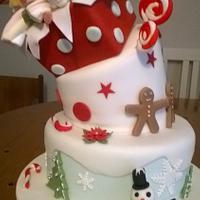 Topsy Turvy Christmas Present Cake