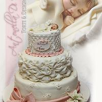 Christmas Christening cake with angel and billowing