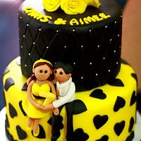 Black and Yellow motif Wedding Anniversary Cake