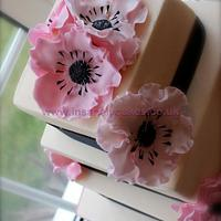 Ivory and Soft pink anemone 3tier wedding cake by InsanelyCakes