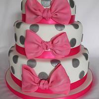 Big bow 3 tier Spotty cake