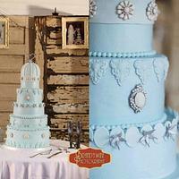 Blue Jeweled Wedding Cake